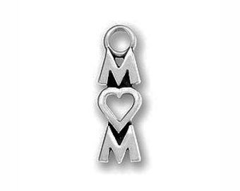 5 Silver I Love Mom Charm 18x6mm by TIJC SP0620
