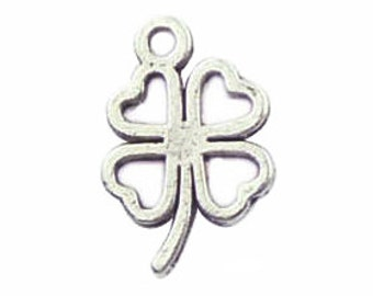 20 Silver Open Four Leaf Clover Pendant Good Luck Charm 17x11mm by TIJC SP0787