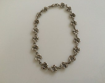 Silver-tone matte roses necklace/choker costume jewelry