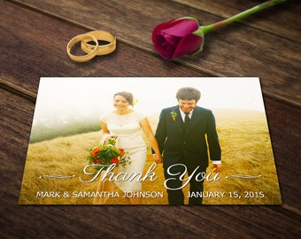Wedding Thank You Card Template - Photoshop Templates - Photography Postcard PSD - Printable Photo Personalized & Custom WT004