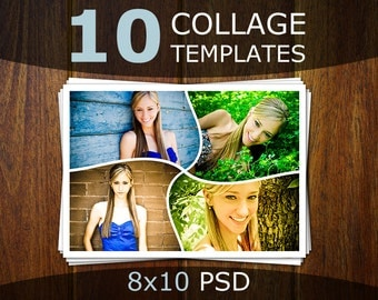 Photoshop Collage Templates - Photo Collage Templates - Storyboard Templates - PSD Templates - Photography Photo Templates Postcard CT005