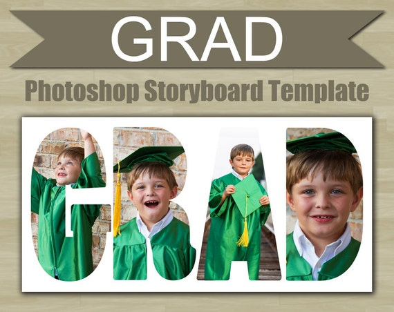 Photography storyboard template grad graduation photoshop for Graduation templates photoshop