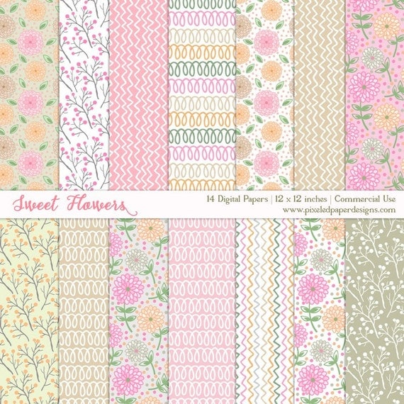 DIGITAL PAPER CUTE SWEET FLOWERS WATERCOLOR