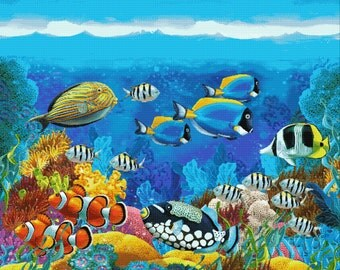 Cross Stitch Pattern - Coral Reef - ocean life