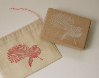 New Zealand Fantail Bird - Handcarved Rubber Stamp