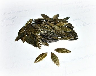 20 Antique Bronze Leaf Charms Palm Leaves