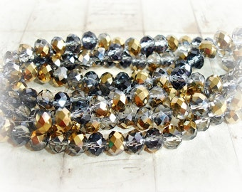 20 x Golden Grey Fire Polished Rondelle Glass Beads