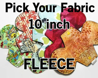 Pick Your Fabric - 10 inch- Cotton Menstrual Pad - Choose Fabric and Absorbency - Fleece Back