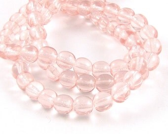 Rosaline Pink 6mm Smooth Round Czech Glass Beads #1741