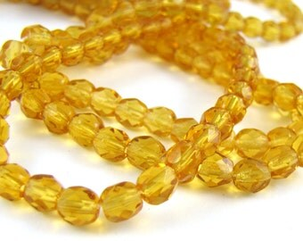 Med Topaz 5mm Facet Round Czech Glass Fire Polished Beads #135