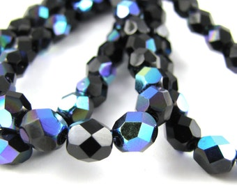 Jet Black AB 6mm Facet Round Czech Glass Fire Polished Beads #64