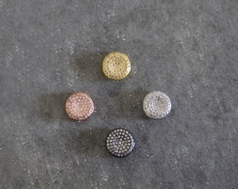 CZ Micro Pave 11mm Coin  Beads