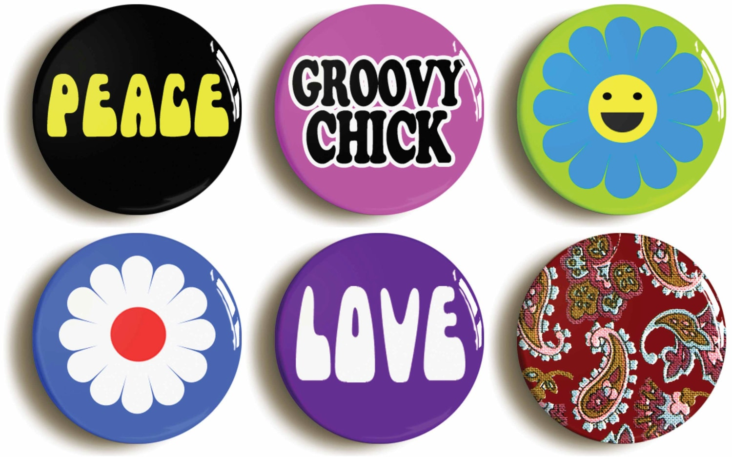sixties hippie chick badges buttons pins set of by. Black Bedroom Furniture Sets. Home Design Ideas