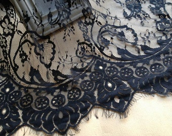 Chantilly Lace Fabric, Black Eyelash Lace Trim, Wedding Table Decor, Black Floral lace shawl