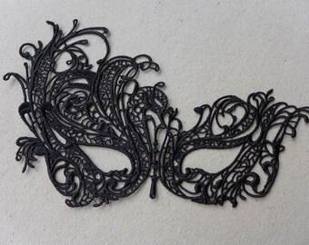 vintage black lace mask halloween party mask venise lace applique mask black eye - Black Eye Mask Halloween