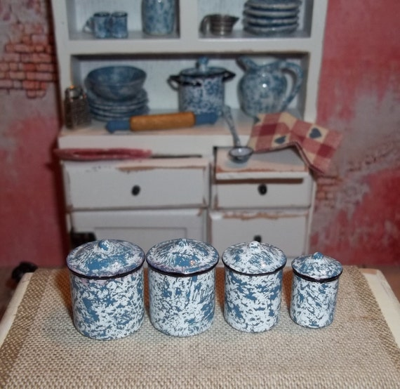 Dollhouse Miniature Kitchen Canister Set - Blue Splatter Ware