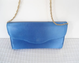 80s Blue Satin Prom Special Occassion Envelope Style Purse with Chain Strap