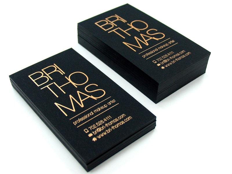 Black business cards 100 700gsm foil on single side for Vistaprint foil