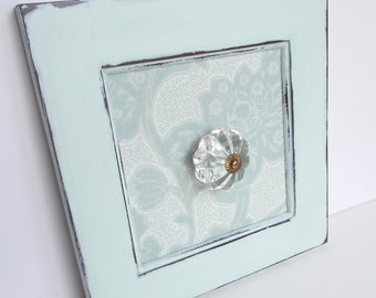 Light Mint Blue/Green Glass Door Knob Hanger Hook