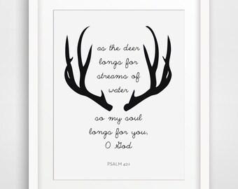 Deer Bible Verses, Psalm 42, Bible Quotes, Scripture Prints, Christian Wall Art, Scripture Wall Art, Bible Quote Home Decor, Psalm 42:1