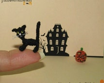 Miniature Halloween Cat miniature cat, micro cat Halloween miniatures, handmade miniature black, miniature kitty, dollhouse cat black kitty