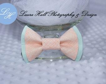 Peach Bow Tie - PEACH bow tie, plaid peach double bow bow tie, MINT bow tie, newborn bow tie, hair bow for girls, toddler boys bow tie