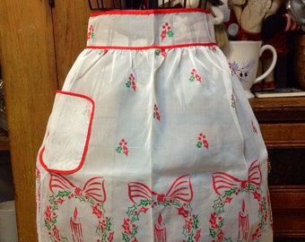 Vintage Flocked Christmas Apron