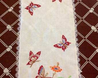 """Vintage Hand Embroidered 36"""" by 12"""" Butterfly Runner"""