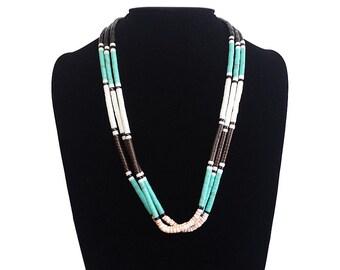 Green Turquoise Southwest Triple Strand Heishi Necklace