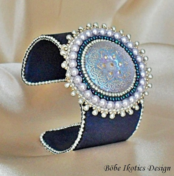 Items similar to bead embroidered bracelet leather beaded