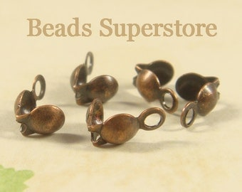 SALE 7 mm x 4 mm Antique Copper Clam Shell End Tip - Nickel Free and Lead Free - 50 pcs