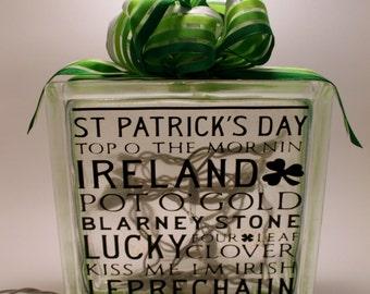 St Patricks Day Glass Lit Block