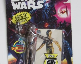 C-3PO Bend-Ems STAR WARS Collectable Figure -Plus Limited Edition Topps Galaxy Trading Card