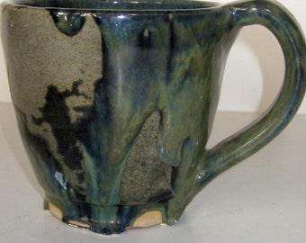 Glazed Pottery Coffee/Soup MUG-Gray Green Bohemian Glaze Designed Cup-Home Accessory