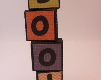 Halloween Decorative wood blocks, Boo!