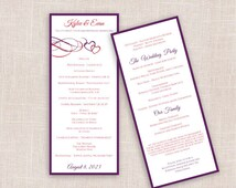 DiY Wedding Program Template - DOWNLOAD Instantly - EDITABLE TEXT - Beloved (Red & Purple) Tea Length - Microsoft® Word Format