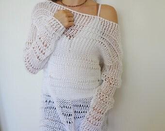 White cotton women  sweater. Summer knit. Loose knit woman tunic/ sweater.Organic cotton.