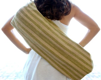 1 Zip Hand Woven Yoga Mat Bag - Green Rectangles