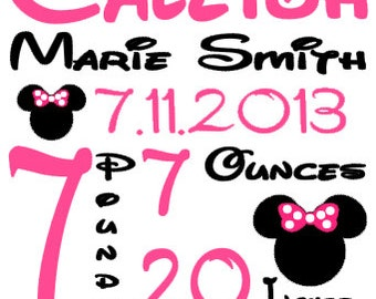 Personalized Baby Birth Annoucement Stat Wall Art Girl Minnie Mouse Name Disney Bedding