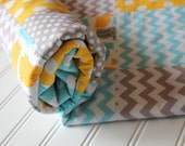 Custom Listing for Sarah's Shower........... Minky Baby Patchwork Quilt.... Custom Created for Sarah -  Hippo Zoologie  - Gray, Aqua, Yellow