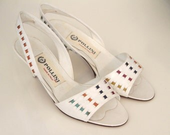 Vintage peep toe/ open toe shoes Pollini white with colored inserts