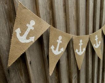 Nautical Anchor Banner Nautical Banner Celebration Banner Beach Wedding Beach Garland Wedding Banner Bridal Shower Banner Anchor Bunting