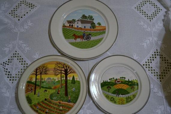 Tre piatti decorativi villeroy e boch vintage design naif - Piatti decorativi ...