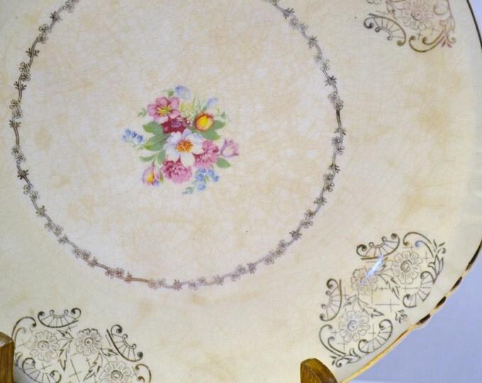 Vintage Platter Cake Plate White Pink Green Floral 22k Gold Shabby Garden Decor PanchosPorch