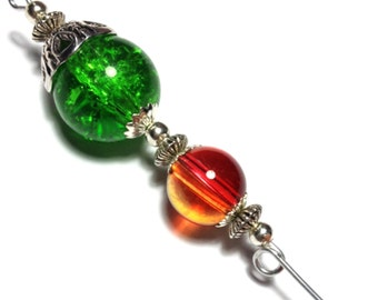 "5"" Red & Green Hat Pin Vintage Antique Silver Style - With Pin Protector (HP4-27)"