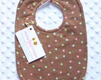 Brown and Pink Polka Dot Bib // Brown and Pink Bib // Brown Bib // Pink Bib // Baby Girl Bib // Toddler Girl Bib // Toddler Bib // Polka Dot