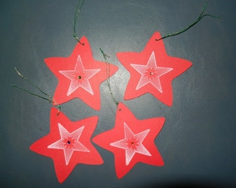 Set of 4 Handmade Christmas Star Gift tags