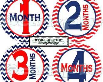 Nautical month to month stickers Nautical belly stickers Nautical baby month stickers nautical monthly stickers red blue set