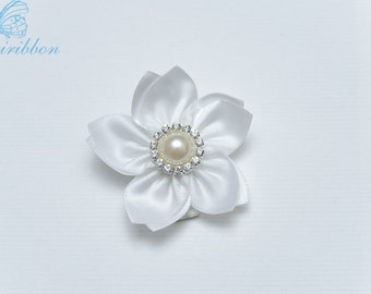 white ribbon flower hair clip - adult hair accessories - flower alligator clip 124
