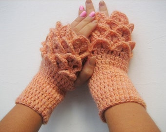 Cute Fingerless Gloves dragon scale gloves Crocheted Arm Warmers Orange Shaded Accessory, Winter Accessories, Handamade Accessories